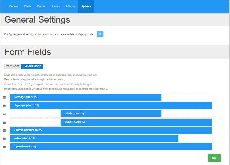 Material Design Action Form