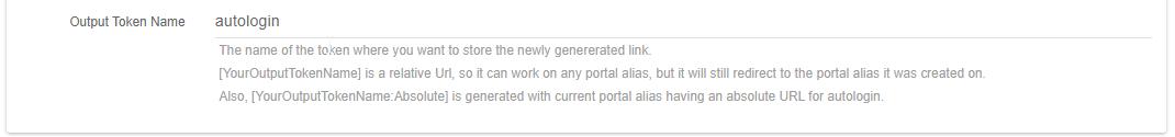 Auto login link output token name